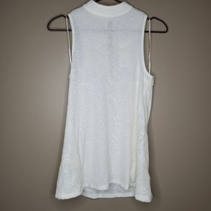 Candie's Cream High Mock Neck Knit Lace Tank Top